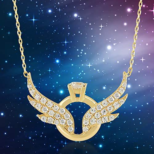 Damen Halskette aus 14 Karat - 585 Echt Gelbgold Kette mit Anhänger als Engelsflügel und Ringe, Zirkonia Steinchen, Geschenk für Valentinstag Geburtstag Weihnachten - Kette 45 cm