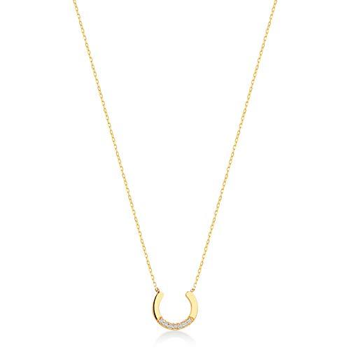 Gelin Gold Damen Halskette 14 Karat - 585 Gelbgold mit Hufe und 0.02ct Diamant als Anhänger, Kette 45cm Valentinstag Geschenk Idee