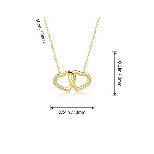 Gelin Gold Damen Herzkette aus 14 Karat - 585 Echt Gelbgold Kette mit 0.01ct Diamant und ineinander verwobene Herzdesign, Geschenk für Geburtstag Valentingstag - Kette 45 cm