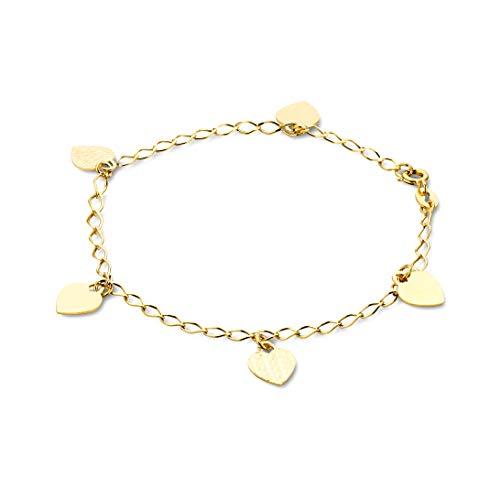 Orovi Armband - Armreif Damen Gelbgold 14 Karat / 585 Gold Kette mit Herz 19 cm
