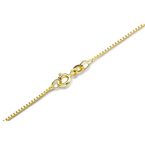 Orovi Damen Veneziakette Halskette 14 Karat (585) GelbGold Venezia kette Goldkette 0.9 mm breit 45cm lange
