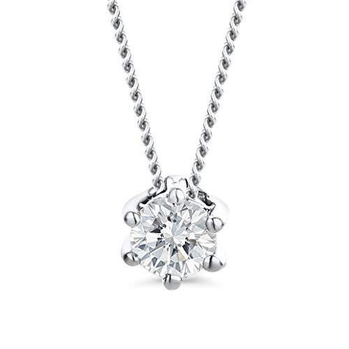 Orovi Schmuck Damen Diamant Kette Weißgold, Halskette mit Solitär Diamant Anhänger 14 Karat (585) Gold und Diamant 0.12 Ct, 45 cm lang