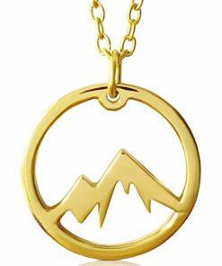 VIASOUL® Halskette für Damen I Berge aus 925er Silber mit 585er Gold überzogen I Die Original Mountain Kette