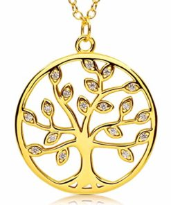 VIASOUL® Halskette für Damen I Tree of Life aus 925er Silber mit 585er Gold überzogen I Der Original Lebensbaum